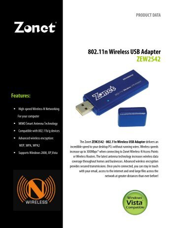 802.11n Wireless USB Adapter ZEW2542 - TigerDirect.com