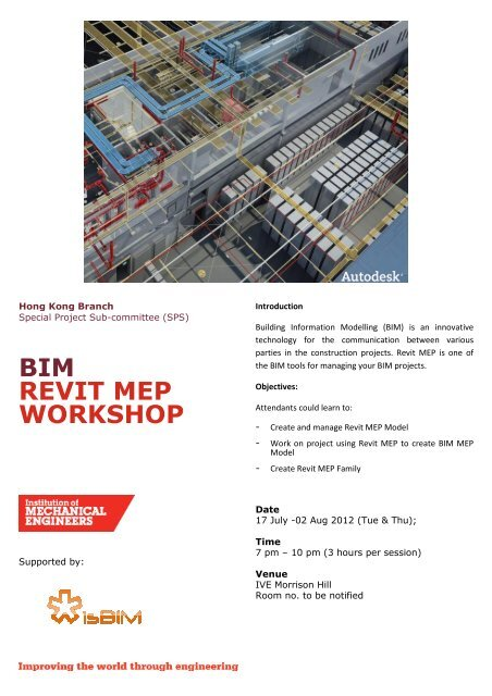 BIM REVIT MEP WORKSHOP - Near You - Institution of