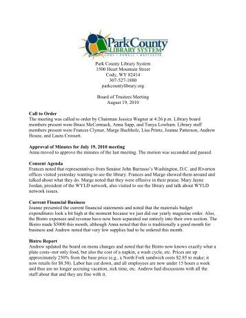 August 2010 Board Meeting Minutes - Park County Library System