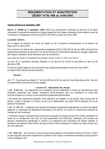 Décret N°92-958 - Manutention - Kiné Ouest Prévention