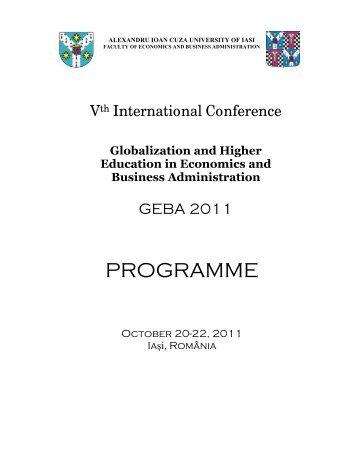 programme GEBA IASI 2011