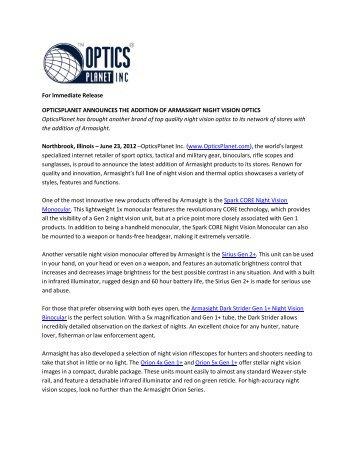 For Immediate Release OPTICSPLANET ... - OpticsPlanet.com