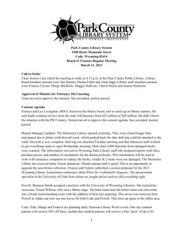 March 2013 Board Meeting Minutes - Park County Library System