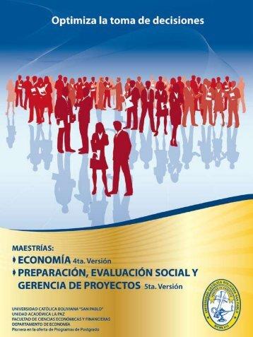 maestría en preparación, evaluación social y gerencia de proyectos ...