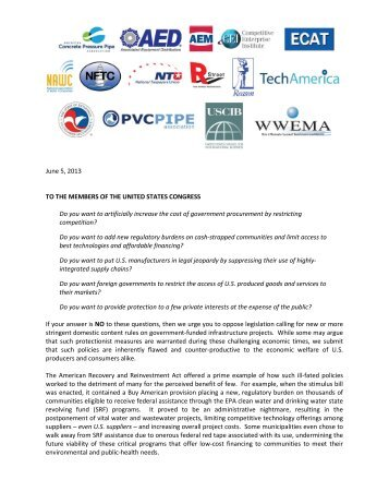 Multi Industry Opposition to Buy American Legislation Letter to ...
