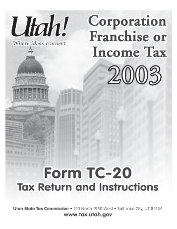 2003 TC-20 Instructions - Utah State Tax Commission - Utah.gov