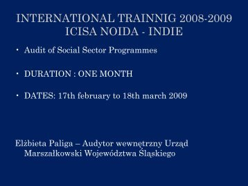 international trainnig 2008-2009 icisa noida - indie - p.wnp.pl