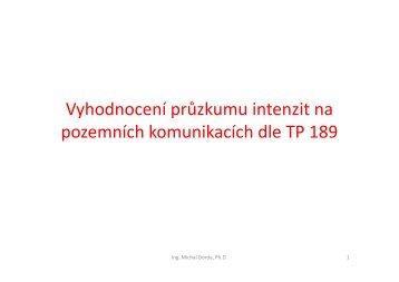 Zpracování dopravního průzkumu intenzit dle TP 189 - HomeL