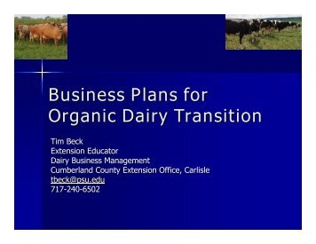 Business Plans for Organic Dairy Transition