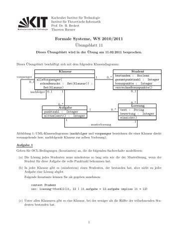 Formale Systeme, WS 2010/2011 ¨Ubungsblatt 11
