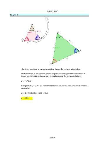 2HF091_MAC Side 1 Opgave 1 Givet to ensvinklede trekanter som ...