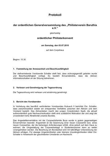 Protokoll Generalversammlung Bufe 2010