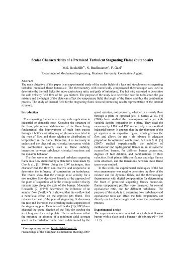 Scalar Characteristics of a Premixed Turbulent Stagnating Flame ...