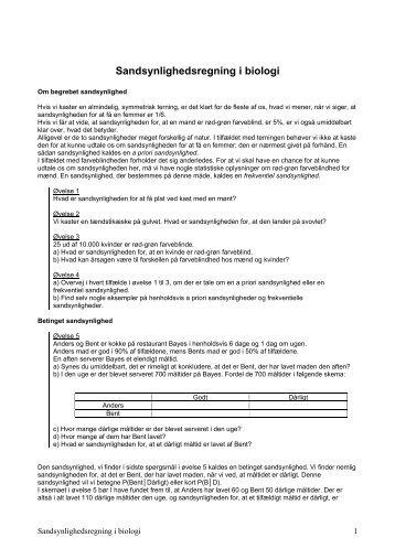 Sandsynlighedsregning i biologi Pdf - Emu