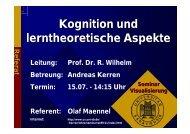 Kognition und lerntheoretische Aspekte