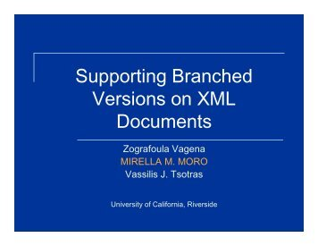 Supporting Branched Versions on XML Documents - UFMG