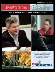 MBA Catalog - graduate studies at assumption college