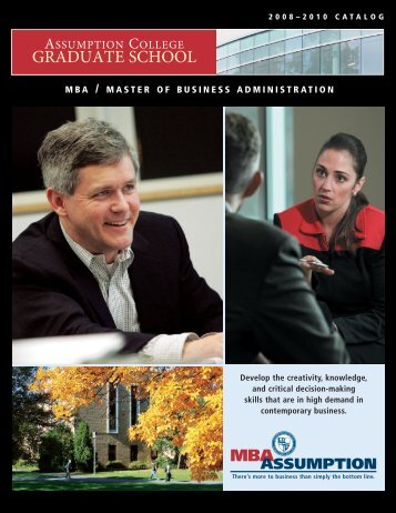 MBA Catalog - graduate studies at assumption college