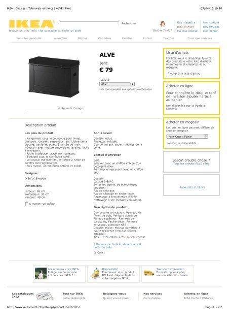 Ikea Chaises Tabourets Et Bancs Alve Banc