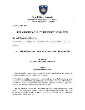 Ligj për shërbimin civil te Republikës së Kosovës - Ministria e ...