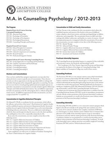 Counseling Psychology Course Descriptions - graduate studies at ...
