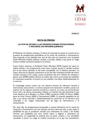 FCM nota de prensa - No 0il Canarias