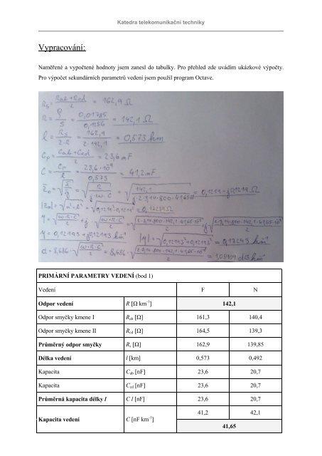 (1) parametry vedení a odporové nerovnováhy - HomeL