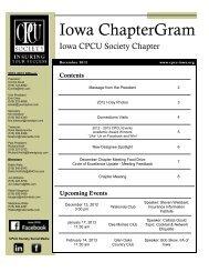 December 2012 ChapterGram - Iowa CPCU Society Chapter
