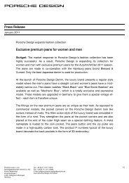 Press Release Exclusive premium jeans for ... - Porsche Design