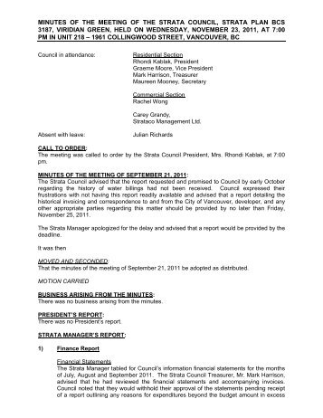strata meeting minutes template