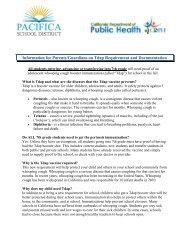 Tdap Immunization Requirement for Grade 7 - Pacifica School District