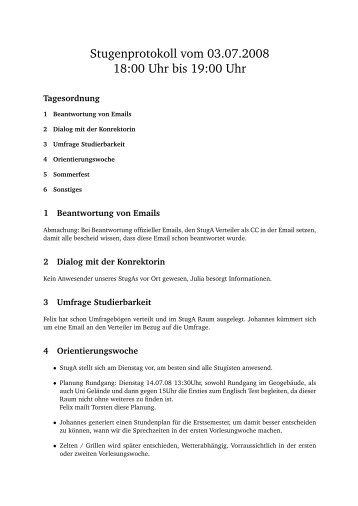 Stugenprotokoll vom 03.07.2008 18:00 Uhr bis 19:00 Uhr - StugA ...