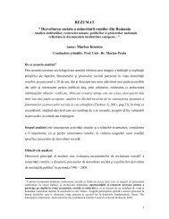 """REZUMAT """" Dezvoltarea sociala a minoritatii romilor din Romania ..."""