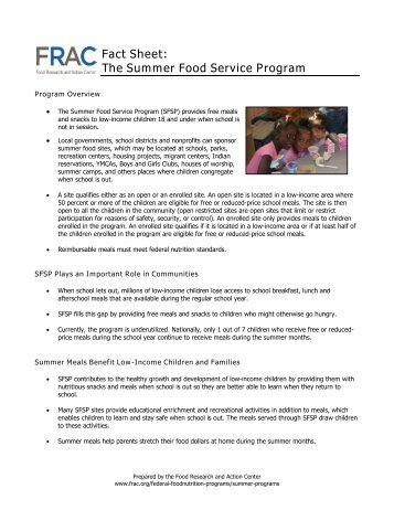 Fact Sheet - Food Research and Action Center