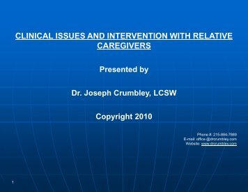 clinical issues and intervention with relative caregivers