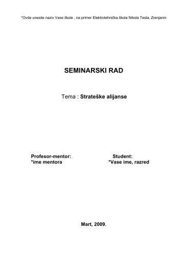 Strateske alijanse - Seminarski Maturski Diplomski Radovi