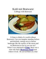Kohl mit Bratwurst - The Geriatric Gourmet