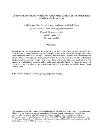 Competition and Quality Restoration: An Empirical ... - ResearchGate
