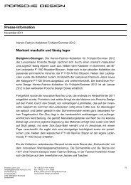 Presse-Information Markant maskulin und lässig ... - Porsche Design