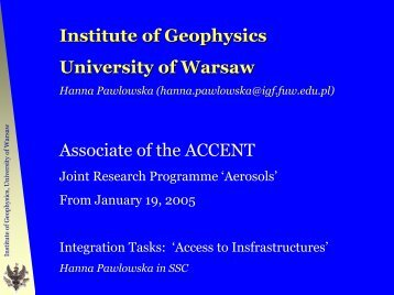 Hanna Pawlowska - Aerosol direct and indirect effects - MANHAZ