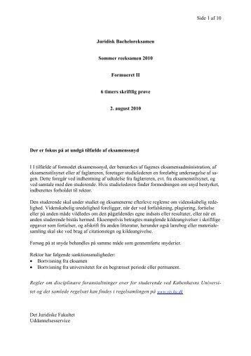 Side 1 af 10 Juridisk Bacheloreksamen Sommer reeksamen 2010 ...