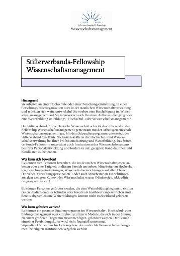 Ausschreibung des Fellowships Wissenschaftsmanagement