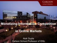 Monetizing Information: Competition in Online Markets - MISRC