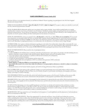 SS2012 Summer Cast Contract - Boston Children's Theatre