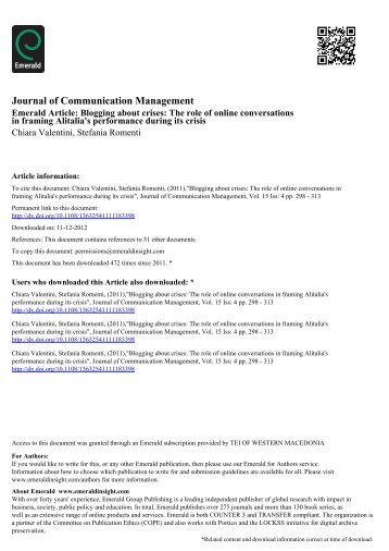 "(2011). ""Blogging about crises: the role of online conversations in"