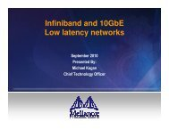 Infiniband and 10GbE Low latency networks
