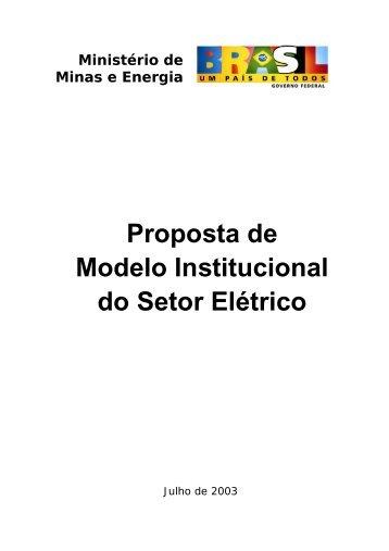 Proposta de Modelo Institucional do Setor Elétrico (247 Kb)