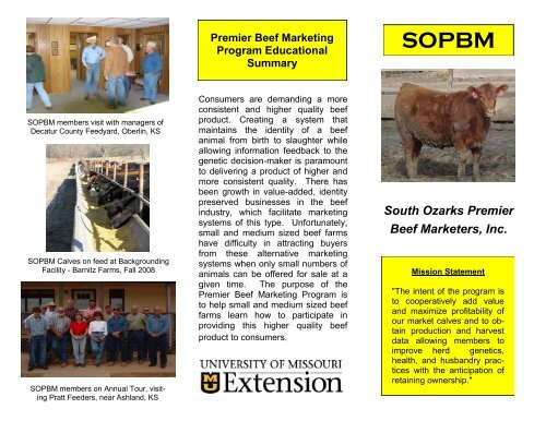 South Ozarks Premier Beef Marketers, Inc.   University Of Missouri .