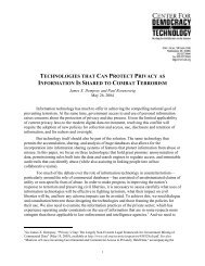 technologies that can protect privacy - Center for Democracy and ...