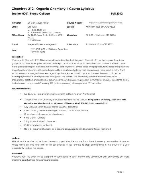Chemistry 212: Organic Chemistry II Course Syllabus - Faculty